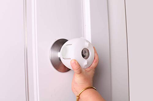 QT BABY Universal Fit Door Knob Covers Babyproof (4 Pack), Upgraded Design and Easy Grip Child Proof Door Knobs Safety Cover for Kids, White, Round Shape, Easy to Use