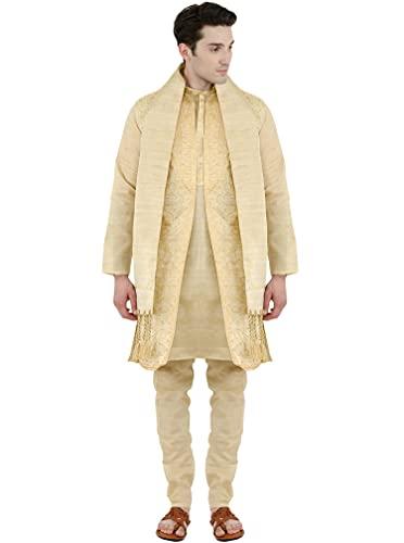 SKAVIJ Chaqueta de Kurta Pijama Y Bufanda de 4 Piezas - Vestido de Fiesta de Boda - Traje de Hombre Beige_M