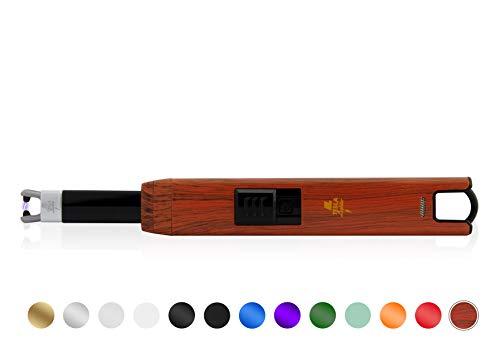 TESLA Lighter T07 Lichtbogen-Feuerzeug, elektronisches USB Stabfeuerzeug, Single-Arc Lighter, wiederaufladbar, Rot Holzoptik
