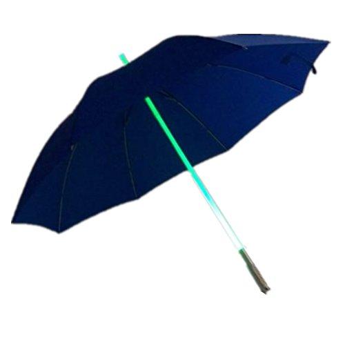 YINGMAN Regenbogen mehrfarbiger LED-Schaft-Regenschirm mit Taschenlampe – helle LED-Taschenlampe Star Wars Stil tolles Geschenk (blau, A)