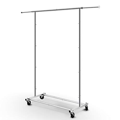 Simple Trending Standard Rod Clothing Garment Rack, Rolling Clothes Organizer on Wheels for Hanging Clothes, Chrome