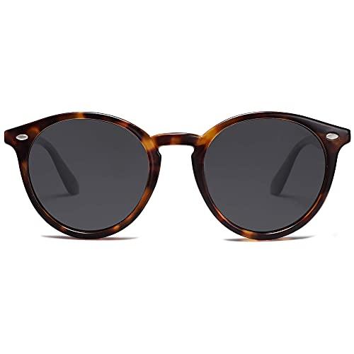 SOJOS Retro Sonnenbrille Damen Runde Polarisierte Sonnenbrille UV Protect SJ2069 ALL ME (C13 Dunkel Demi Rahmen/Graue Linse)