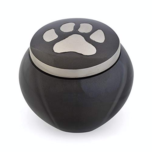 Best Friend Services Pet Urn - Memorial Cremation Pet Urns for Dog and Cat Ashes, Hand Carved Mia Series Urn for Pets up to 70lbs (Large, Slate, Single Pewter Paw)