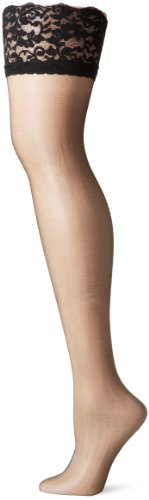 Berkshire Women's Plus-Size Shimmers Ultra Sheer Lace Top Thigh High Stockings 1340, Black, Queen 1