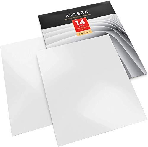 Arteza Vinilo textil termoadhesivo blanco   25,4x30,5cm   Caja de 14 hojas   Vinilo térmico resistente, fácil de pelar y sin tóxicos   Apto para cualquier máquina de corte   Vinilo blanco para telas
