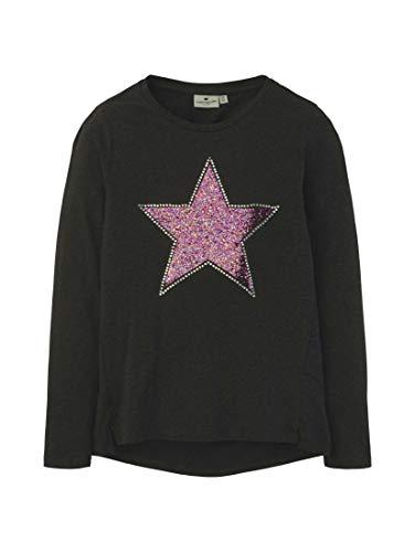 TOM TAILOR Mädchen T-Shirts/Tops Langarmshirt mit Glitzer-Motiv Dark Stone Melange Gray,164,K8036,2500