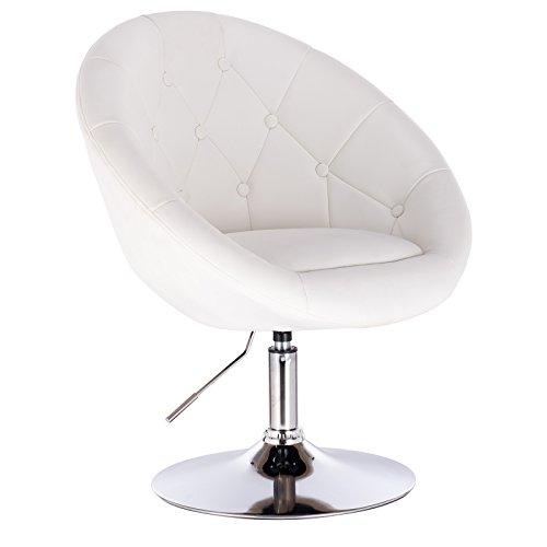 WOLTU® BH77ws 1 x Barsessel Loungesessel mit Armlehne, stufenlose Höhenverstellung, Kunstleder, Weiß