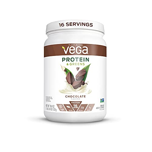 Vega Protein and Greens, Chocolate, Vegan Protein Powder, 20g Plant Based Protein, Low Carb, Keto, Dairy Free, Gluten Free, Non GMO, Pea Protein for Women and Men, 1.2 Pounds (16 Servings)
