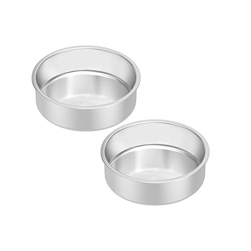Stainless Steel Cake Pan Set 2, HKJ Chef Round Cake Pan & Round Baking Cake Pans Set, For Baking Steaming Serving, Healthy & Sturdy, Easy Clean & Dishwasher Safe , Size of 6inch