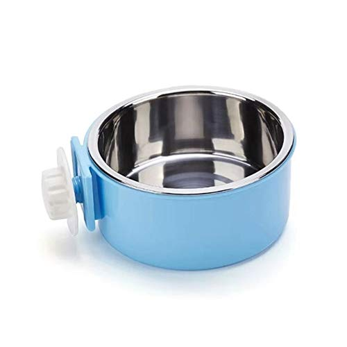RUBYHOME Dog Bowl Feeder Pet Puppy Food Water Bowl, 2-in-1 Plastic Bowl & Stainless Steel Bowl, Removable Hanging Cat Rabbit Bird Food Basin Dish Perfect for Crates & Cages, Blue