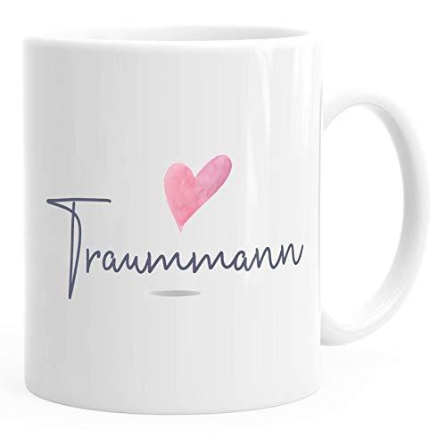 MoonWorks® Kaffee-Tasse Traummann Geschenk-Tasse für Freund Mann Herz Partner Tasse Liebe Geschenk weiß unisize