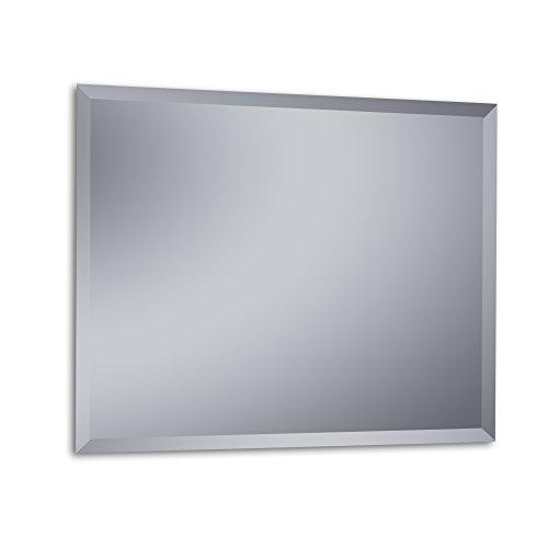 """Kristaled Menorca """"L"""" Bisel 100x80 cm (Colgador Especial focos Pinza) Espejo, Cristal, Plateado, 100x80x2.5 cm"""