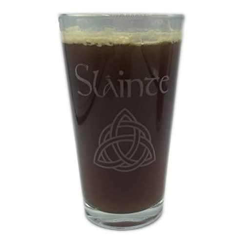SLAINTE Celtic Irish Trinity Knot Cheers Beer Pint Glass Craft Engraved St Patricks Day Gaelic Ireland