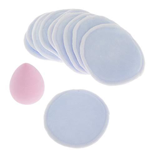MERIGLARE 10x Puffs Nettoyants Réutilisables 3.2 '' Tampons Ronds En Coton Pour - Bleu