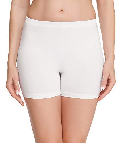 Merry Style Damen Shorts Radlerhose Unterhose Hotpants Kurze Hose Boxershorts aus Baumwolle MS10-392(Weiß,M)