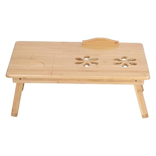 Mesa de bambú para computadora portátil, soporte plegable multifunción para computadora portátil, escritorio de estudio ajustable para oficina en casa, dibujo, lectura(Medio)