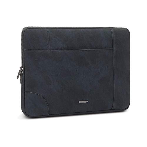 RIVACASE 8905 Vagar Laptophülle 15,6 Zoll Schutzhülle Tragetasche Slim Kunstleder Notebook Chromebook MacBook Tablet Unisex - Schwarz