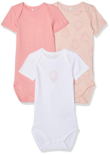 NAME IT NAME IT Baby-Mädchen Strampler NBFBODY 3P SS NOOS, 3er Pack, Mehrfarbig (Strawberry Cream), 62