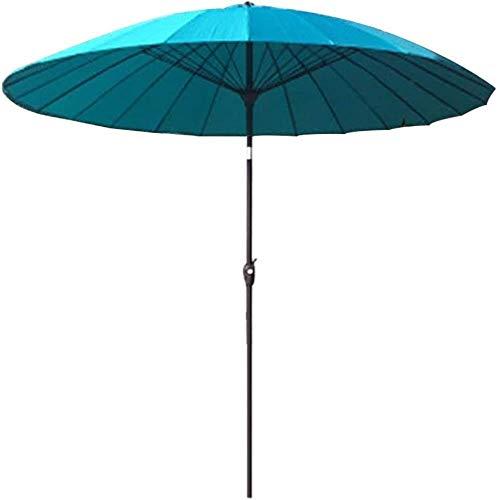 SHANCL Garden Parasol Sombrilla, Paraguas jardín al Aire Libre Parasol | 2.7M |Ronda/inclinable/con manivela / 38MM Paraguas Polo, por Terrace- sin la Base (Color : Azure)
