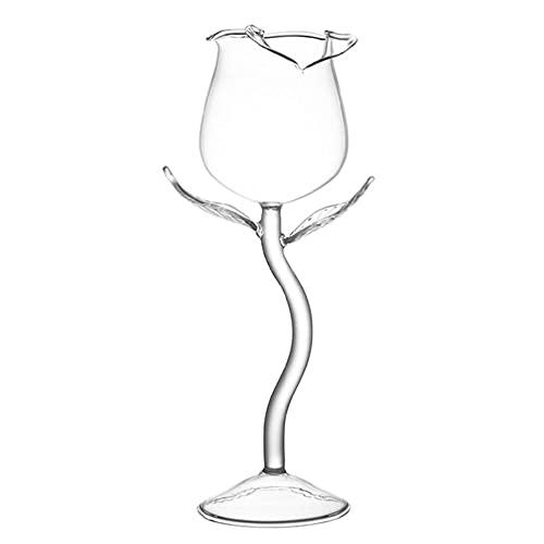Yushu - Copa de vino rosa, copa de vino tinto de lujo, copas de cóctel de vino de 100 ml, copa de vino con forma de flor de rosa, utensilios de cocina, para bar, fiesta, discoteca