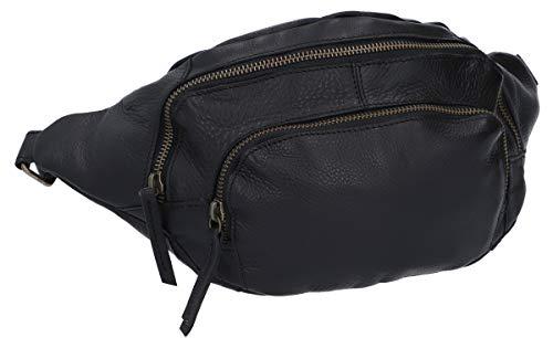 Gusti Gürteltasche Leder - Sverre Bauchtasche Festivaltasche Hüfttasche Tasche Ledertasche Vintage Schwarz