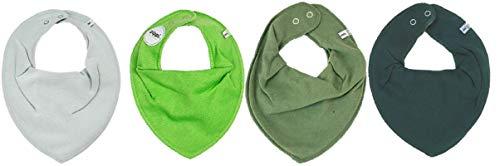 Pippi * Lot de 4 bavoirs triangulaires pour bébé, 4 pièces * différentes combinaisons de couleurs. - Vert - Taille Unique
