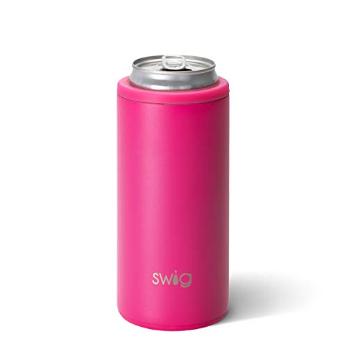 Swig Life 12oz Triple Insulated Skinny Can Cooler Dishwasher Safe Double Walled Stainless Steel Slim Can Coozie for Tall Skinny Cans in Matte Hot Pink Pattern Multiple Patterns Available