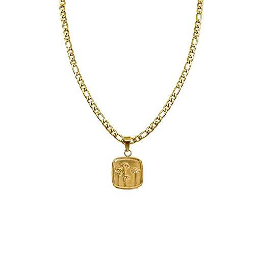 Joyería de acero inoxidable Collar de patrón cuadrado de diente de león de loto Cadena de cavícula de moda para mujer