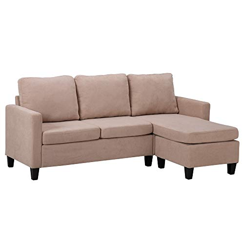 3-Seater Sofa,Double Chaise Longue Combination Sofa,Sofa Bed with Reversible Chaise,Corner Sofa with 3 Bolsters and 1 Pedal (Beige)