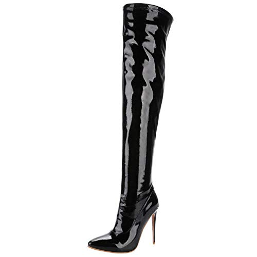 Lack Overknee Stiefel High Heel Stiletto Boots mit Reißverschluss und 12cm AbsatzHerbstWinterSchuhe (Schwarz,41)