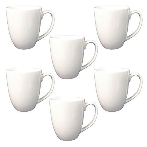 Doriantrade Kaffeebecher 6 Stück Tassen groß 320ml aus Porzellan Kaffee Becher Porzellantassen Oskar 6er Set Haushalt Gastronomie Geschirr, Tasse zum Bemalen oder Bedrucken geeignet