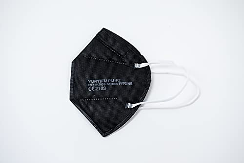 YUNYIFU FFP2 Maske | Mundschutz Maske FFP2 | ISO + CE zertifiziert | Atmungsaktiv | 10 Stück einzeln verpackt (Schwarz)