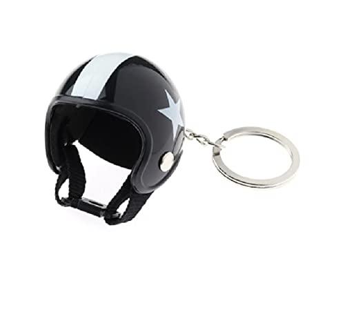 5665 Llavero con forma de casco para moto, scooter, bicicleta, negro/blanco, unisex, regalo de moda