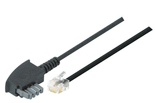 TPFNet Telefon Kabel (TAE N Stecker an RJ11 Stecker 2polig Belegt) Schwarz, 3m