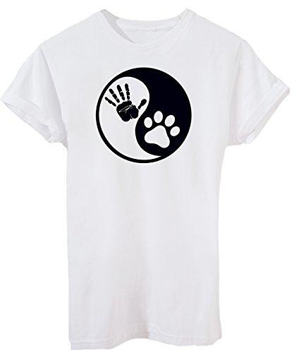 iMage T-Shirt Yin Yang Uomo Cane Mano Zampa - Pets - Donna-XL-Bianca