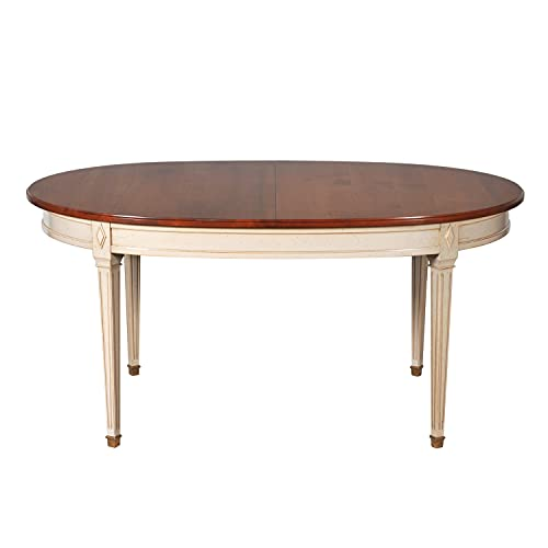 GONTIER - Mesa ovalada con 2 extensiones de cerezo macizo, color rubio y lacado gris perla