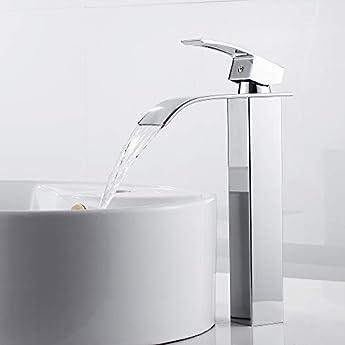 Foto di Miscelatore dal design allungato, monocomando, per lavandino, con rubinetto a cascata, miscelatore monocomando per bagno