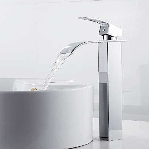 Miscelatore dal design allungato, monocomando, per lavandino, con rubinetto a cascata, miscelatore monocomando per bagno
