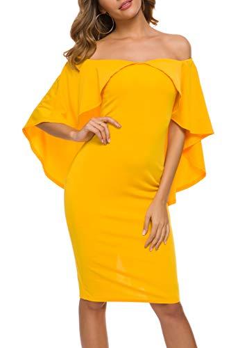 ANGGREK Mujer Vestido de Fiesta Ajustado Elegante Sin Hombros Boda