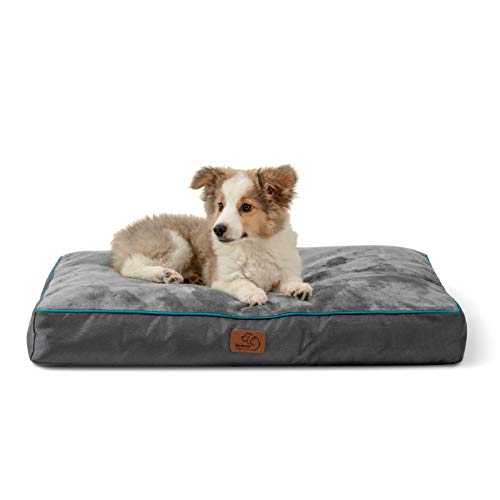 Bedsure Waterproof Dog Beds for Meidum Dogs - Up to 50lbs Medium Dog Bed with Removable Washable Cover, Pet Bed Mat Pillows, Grey