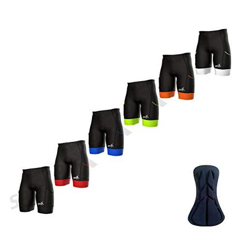 Sparx Men's Active Triathlon Short Tri Cycling Short Swim Bike Run (Black/Neon Green, Medium)