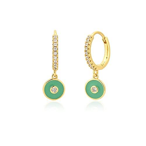 925 plata púrpura esmalte felicidad ojo mujeres caída pendiente piercing ohringe pendiente moda joyas de lujo-oro verde turquesa