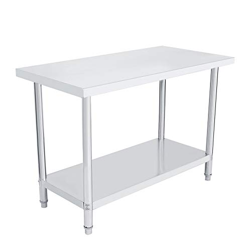 Cocoarm 2 Niveles Mesa para Catering de Acero Inoxidable Mesa de Trabajo La Segunda Capa Puede Ser Ajustable (122 ¡Á 61 ¡Á 85 cm) ⭐