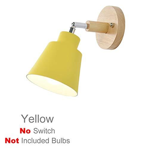 RAQ houten wandlamp nachtkastje wandlamp E27 wandlamp wandlamp voor slaapkamer gang 4 kleuren met ritssluiting schakelaar vrij draaibaar goud