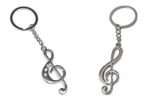 2 Schlüsselanhänger, Bijoux -Tasche, Violinschlüssel Musik Stahl Chrom für Paar