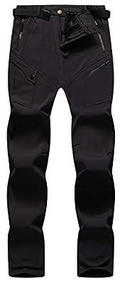 Singbring Women's Outdoor Fleece Waterproof Windproof Ski Snow Hiking Pants W28-W29 Medium Black(08F/L31/M)