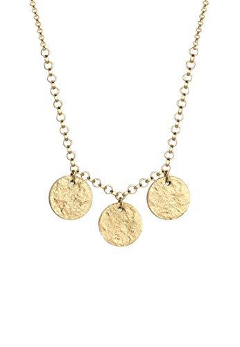 Elli Halskette Damen mit Kreis Plättchen Anhänger im Geo Minimal Trend in 925 Sterling Silber 60 cm Länge