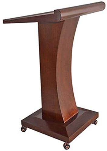 PULLEY -L Mobiles Rednerpult Podium Tisch Hosting Empfang Schreibtisch Präsentationspodium Holz Rednerpult Ständer ideal für Predigten und Präsentationen Pulley L (Farbe: Kaffee)