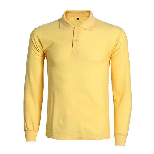 N\P Polo de manga larga para hombre, estilo informal, de algodón. amarillo XXL