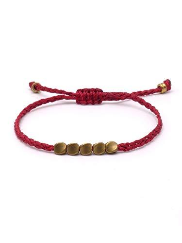 BENAVA Pulsera de la Suerte, tibetana, de Cobre Rojo, Colgante Budista